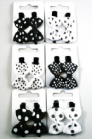 Pair of black and white kitsch bow clips on forks (Code 0143)